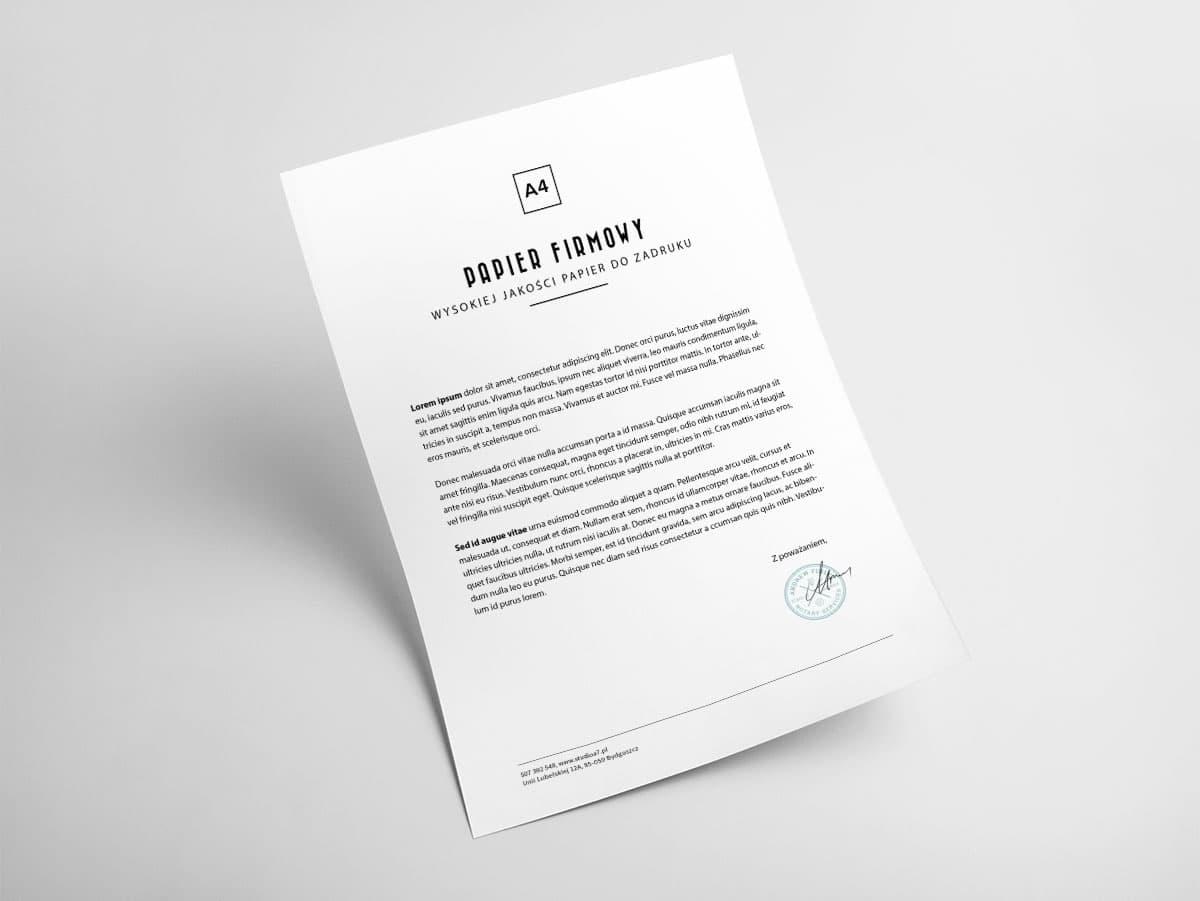 Papier firmowy do korespondencji