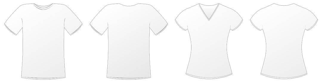 Rożne rozmiary koszulek z nadrukiem