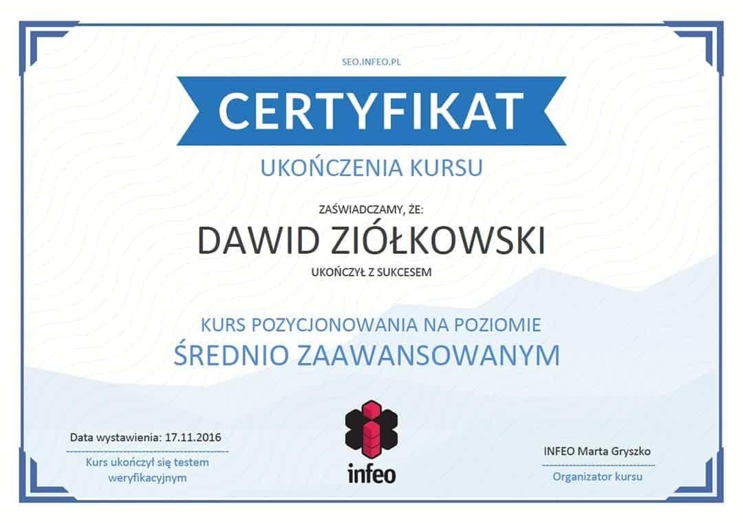 Certyfikat INFEO ukończenia kursy pozycjonowania na poziomie średnio zaawansowanym
