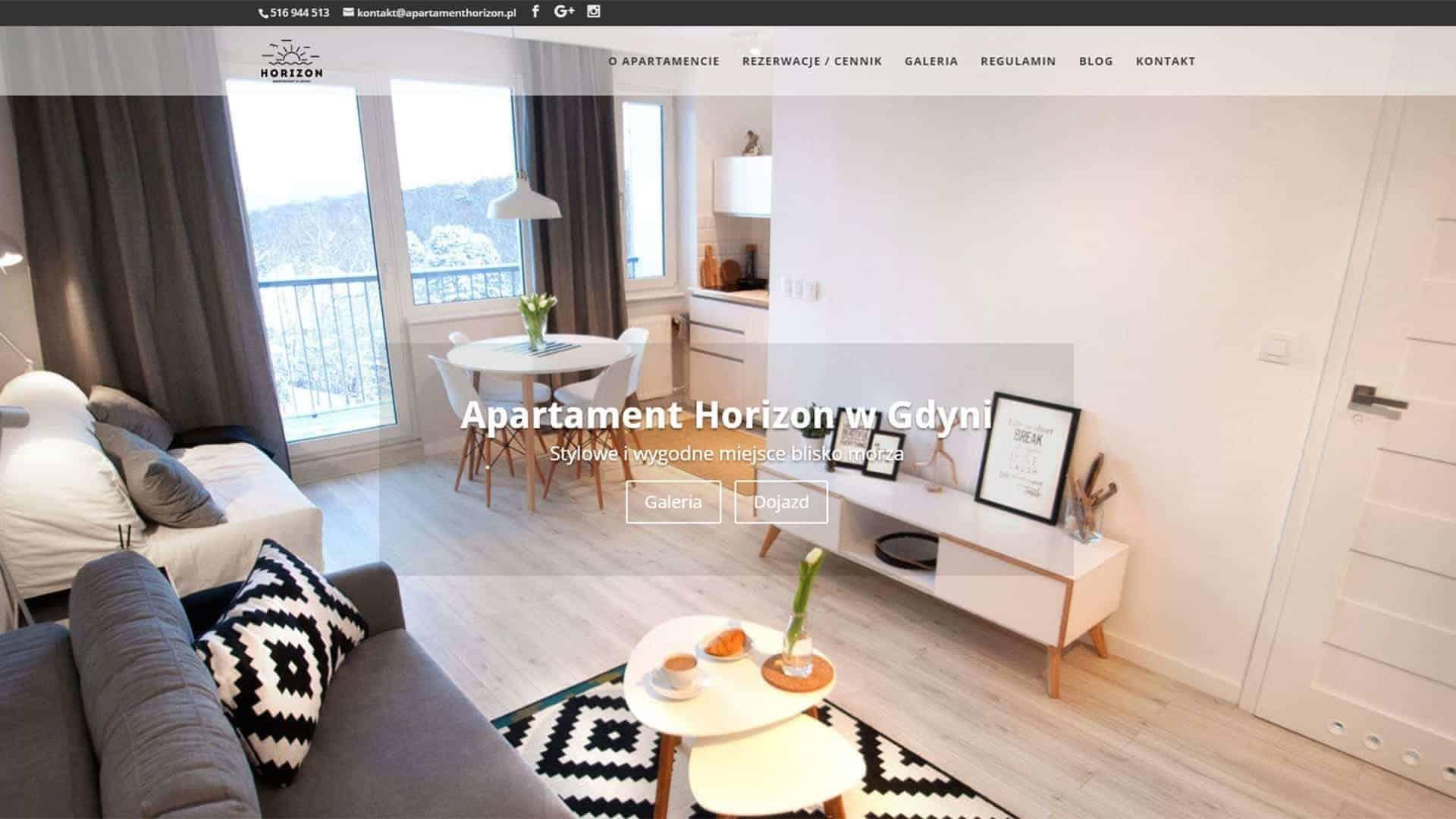 Strona internetowa dla Apartamentu Horizon w Gdyni