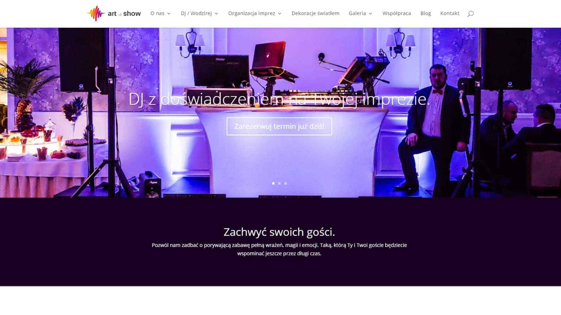 Strona WWW dla DJ i wodzireja z Art of Show, Bydgoszcz.