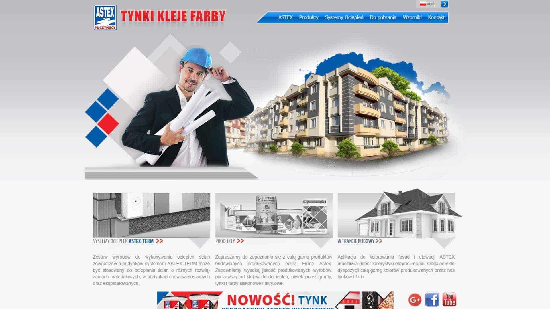 Realizacja strony WWW dla producenta materiałów budowlanych, firmy Astex - Tynki