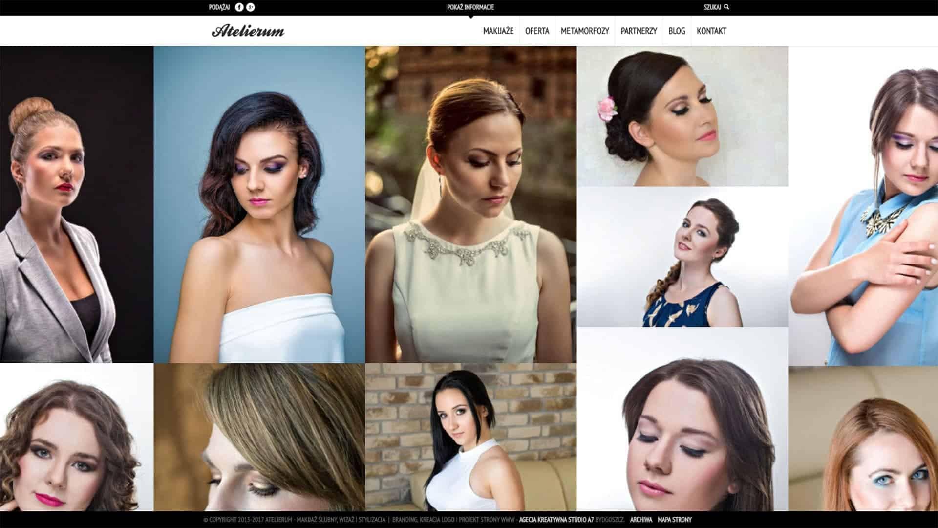 Projekt strony internetowej dla studia makijażu i wizażu Atelierum - Bydgoszcz