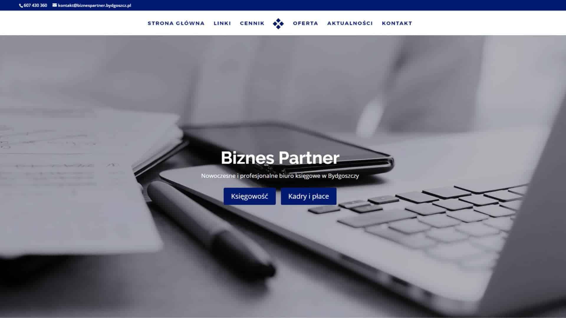 Projekt strony WWW dla firmy księgowej Biznes Partner - Bydgoszcz
