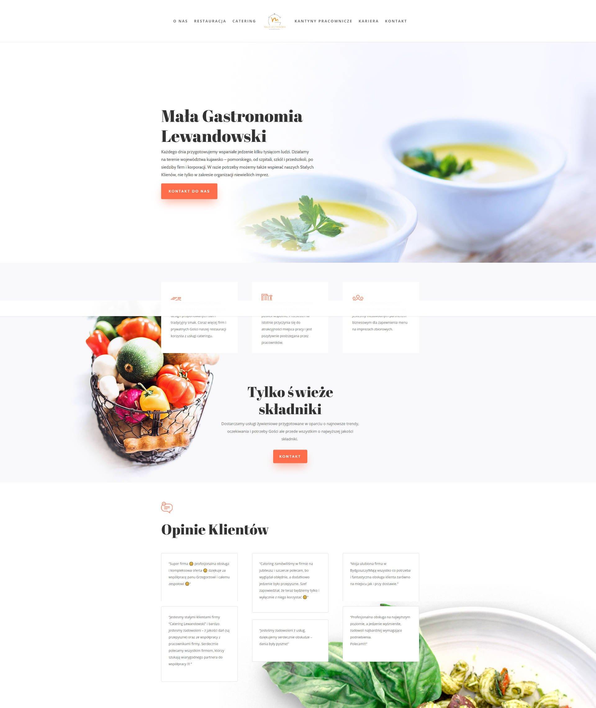 Strona firmowa WWW dla Catering Lewandowski