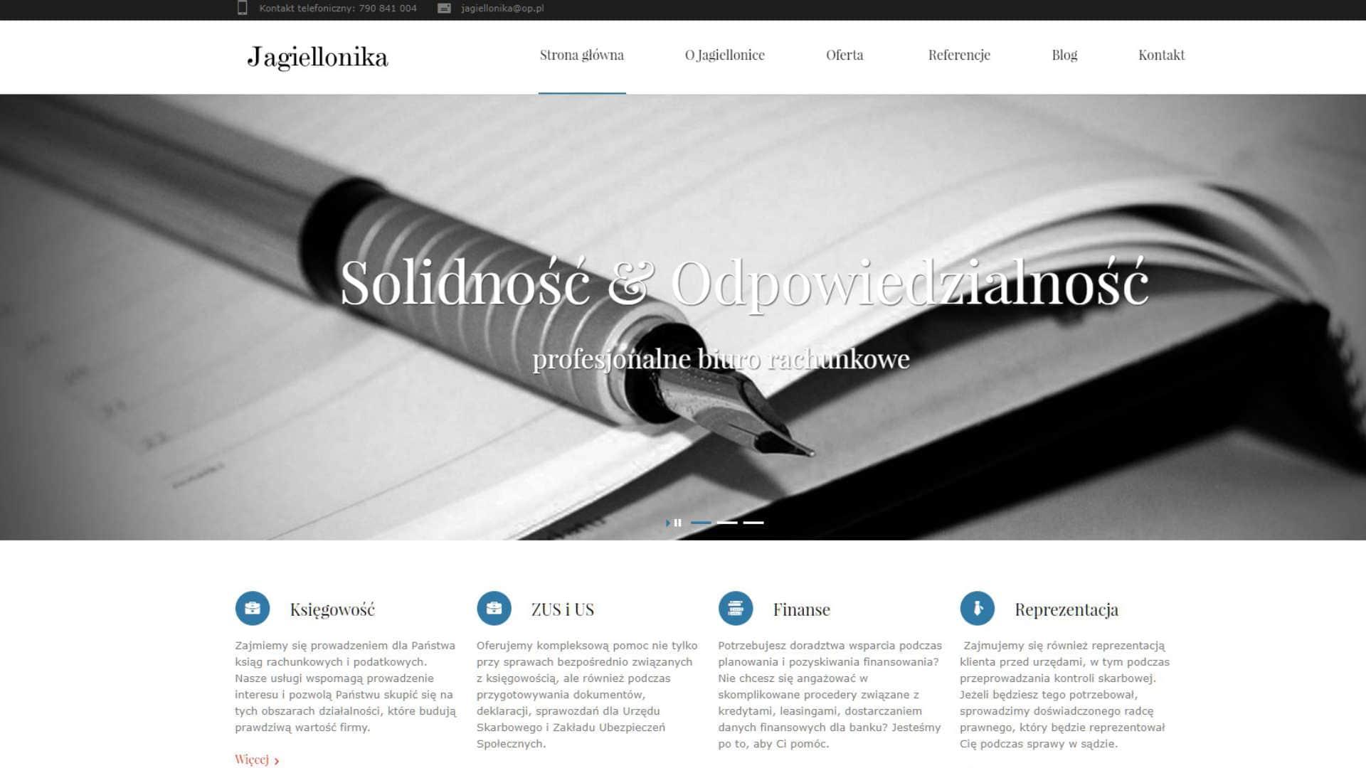 Strona WWW dla biura księgowego Jagiellonika z Bydgoszczy