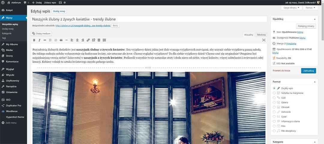 Przykładowy panel administracyjny dla strony WWW w systemie WordPress