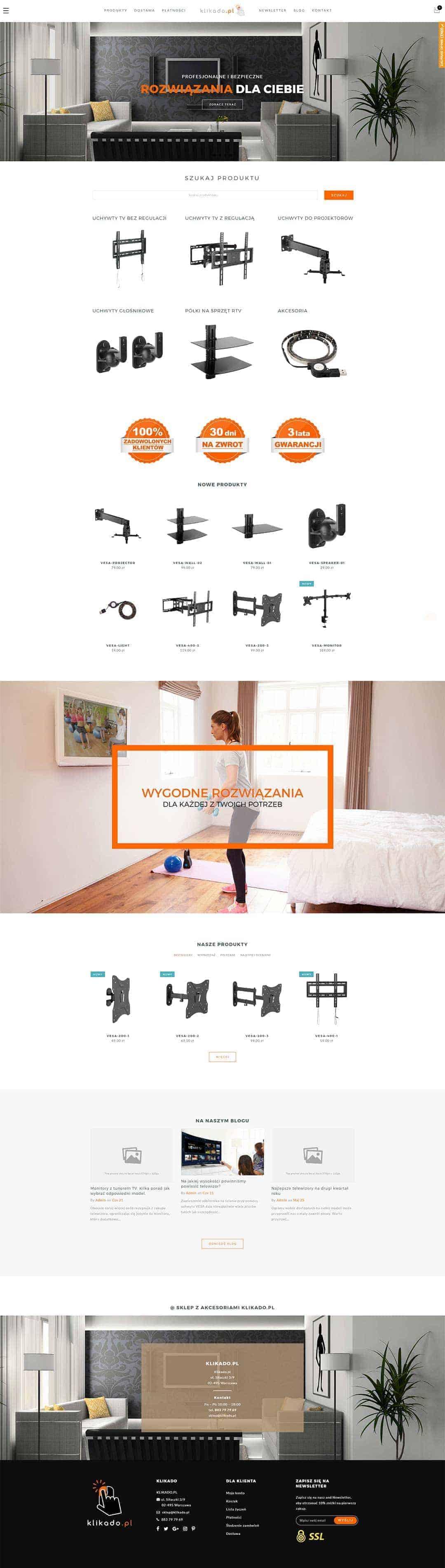 Strona główna sklepu internetowego Klikado
